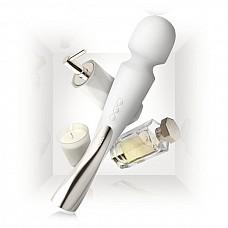 Профессиональный массажер Smart Wand Medium белого цвета  Объединив в себе такие качества, как стильный дизайн, мощь и бесшумность во время работы, он способен подарить чувственный массаж всего тела, в том числе и интимных зон! Размер: 22 х 4 cм.