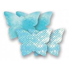 Комплект из 2 голубых пар пэстис-бабочек с блестками и 2 пэстис с гладкой поверхностью  Комплект из 2 голубых пар пэстис-бабочек с блестками и 2 пэстис с гладкой поверхностью
