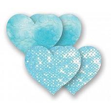 Комплект из 2 голубых пар пэстис-сердечек с блестками и 2 пэстис с гладкой поверхностью  Комплект из 2 голубых пар пэстис-сердечек с блестками и 2 пэстис с гладкой поверхностью