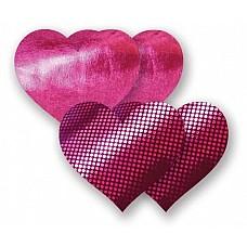 Комплект из 2 пурпурных пар пэстис-сердечек с блестками и 2 пэстис с гладкой поверхностью  Комплект из 2 пурпурных пар пэстис-сердечек с блестками и 2 пэстис с гладкой поверхностью