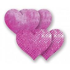 Комплект из 2 розовых пар пэстис-сердечек с блестками и 2 пэстис с гладкой поверхностью  Комплект из 2 розовых пар пэстис-сердечек с блестками и 2 пэстис с гладкой поверхностью