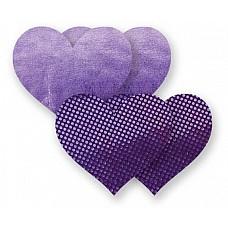 Комплект из 2 сиреневых пар пэстис-сердечек с блестками и 2 пэстис с гладкой поверхностью  Комплект из 2 сиреневых пар пэстис-сердечек с блестками и 2 пэстис с гладкой поверхностью