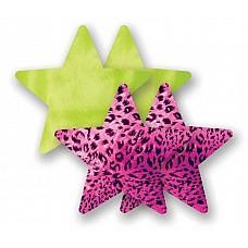 """Комплект:1 пара пэстис-звездочек лимонного цвета и 1 пара розовых пэстис с отделкой """"под леопарда""""  Комплект:1 пара пэстис-звездочек лимонного цвета и 1 пара розовых пэстис с отделкой """"под леопарда"""""""