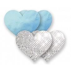 Комплект: 1 пара пэстис-сердечек голубого цвета и 1 пара серебристых пэстис  Комплект:1 пара пэстис-сердечек голубого цвета и 1 пара неоновых пэстис в полоску