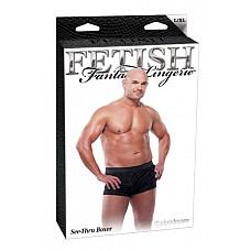 Ажурные боксеры черные, L / XL  Мягкие, прозрачные, ажурные боксеры с поясом в виде эластичного ремня.