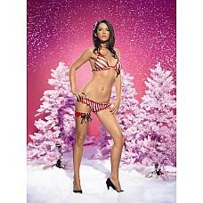 Стильный новогодний комплект, M/L,   Новогодний комплект: полосатый лиф и трусики.