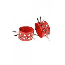 Напульсники красные  Изготовлены из натуральной кожи.