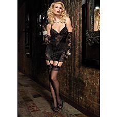 Роскошное платье с кружевной отделкой, L, Черный  Платье достойное истинной леди! Потрясающее платье с кружевными вставками и подвязками для чулок в одно мгновенье превратит Вас в роковую соблазнительницу!