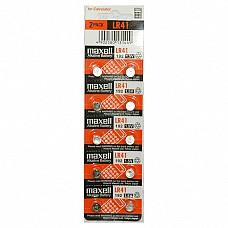 Батарейки Maxell LR41 10 шт  Алкалиновые батарейки Maxell типа LR41 в форме таблеток.
