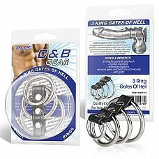 Хомут на пенис из трех металлических колец и кольца для привязи 3 RING GATES OF HELL BLM1715  Хомут, состоящий из трех стальных колец разного диаметра и D-образного маленького колечка.