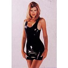 Мини-платье из черного латекса, L,   Мини-платье из черного латекса.