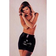 Латексная мини-юбка, S  Черная латексная мини-юбка.