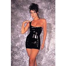 Латексное мини-платье с открытым плечиком  Черное латексное мини-платье с открытым плечиком.