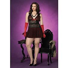 Платье с ажурными вставками 1X-2X LA865381X-2Xblack  Платье с ажурными вставками черное в красный горох.