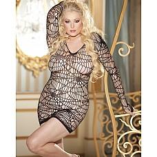 Платье с ажурным узором и длинными рукавами
