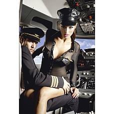 Игровой костюм КОРОЛЕВА НЕБА: мини-платье,значок и фуражка  Готовы к восхитительному полету?  Черное платье с длинными, прозрачными рукавами.