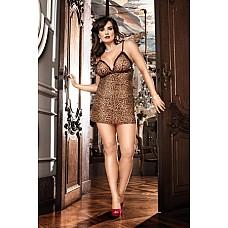 Animal Мини-платье D (52-54), леопард  Чувственный комплект, созданный для того, чтобы влюбиться в него — исключительная, сексуальная сорочка с диким леопардовым рисунком, с одной стороны, располагает к отдыху, а с другой, — к соблазнению.