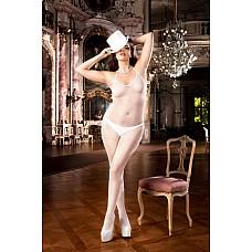 Angel Чулок на тело Q (50-52), белый  Этот классический белый комбинезон с бретелью-петлей в мелкую сеточку станет прекрасным элементом соблазнения.