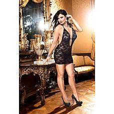 Mafia Мини-платье D (52-54), черный  Удобство и невероятная сексапильность — маленькое платье с бретелью-петлей черного цвета, отделанное прекрасным кружевом с цветочным рисунком, возбуждает фантазию.