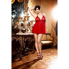Devil Мини-платье D (52-54), красный  Откройте немного плечи! Комплект бебидолл с бретелью-петлей из тонкого кружева красного цвета и волнующего очень прозрачного материала — прекрасный элемент соблазнения, идеально дополненный подходящими трусиками.