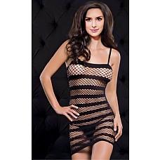 Платье в сетку в полоску черный One Size 02567OS  Черное платье в сетку на бретелях с полосками из плотной стрeйчевой ткани.