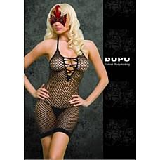 Платье сетка со шнуровкой черное One Size 02564OS  Черное платье в сетку с перекрестной шнуровкой на груди.