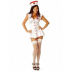 """Костюм """"Медсестра"""" белый 02203SM  Беленький с красными крупными пуговицами халат, облегающий фигуру, с расклешенной коротенькой юбочкой № эротический костюм медсестры выгодно подчеркивает фигуру."""