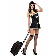 Костюм Милая стюардесса черный 02535SM  Когда рядом находится эта очаровательная стюардесса в своём чёрно-золотом платьице, мужчина понимает № будущий полёт пройдет просто замечательно Она подаст напитки и позаботится о том, чтобы любимый пассажир не на что не жаловался! Костюм выполнен в идеальном ключе и идеально подчеркнет ваши формы! -Пилотка -Шарф -Платье -Чулки<br>Производитель: <b>Le Frivole Costumes</b><br/>
