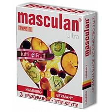 Презервативы Masculan Ultra Тутти-Фрутти (Tutti-Frutti)  Нежные презервативы из утонченного латекса. С приятным фруктовым ароматом для придания разнообразия Вашим ощущениям. Презерватив  желтого цвета, гладкой классической формы.
