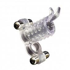 Насадка-эрекционное кольцо с 2мя мини-вибраторами.  Прозрачная насадка на пенис с двумя вибро-элементами - для него и для нее: петля для мошонки и тонкие мягкие усики для стимуляции клитора! В комплекте две водонепроницаемые вибропули, их можно использовать вместе или по отдельности. Батарейки в комплекте.