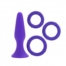 Набор: анальная пробка + эрекционные кольца. (фиолетовый)  Универсальный ассортимент роскошных аксесуаров для секса. 3 эластичных , прочных кольца в 3 популярных Размерах Мягкий и бесшовный зонд, с превосходной подошвой - присоской.