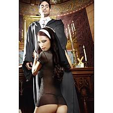 Игровой костюм ОЧАРОВАТЕЛЬНАЯ МОНАШКА: мини-платье и головной убор  Невозможно победить тайное желание согрешить с этой очаровательной монашкой - соблазнительницей в черном облегающем прозрачном платье с коротким рукавом и воротничком-стоечкой с обязательной для каждой сестрички черно-белой  вуалью-барбеткой.