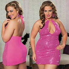 Розовое платье с паетками STM-9658PXPNK  Кокетливое розовое платье расшито многочисленными сверкающими паетками.