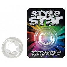 Прозрачное эрекционное кольцо Style Star  Эрекционные кольца помогают усилить эрекцию и продлить половой акт, а их рельеф дополнительно воздействует на женские эрогенные зоны.