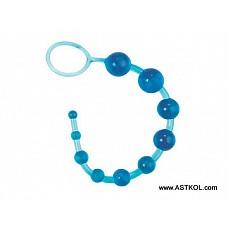 Голубые анальные бусы на жесткой сцепке  Анальные шарики миниатюрного Размера на жесткой сцепке. Применяются для расслабления мышц ануса перед проникновением и так же можно использовать для массажа и стимуляции пениса партнера при вагинальном контакте. Вес - 103 г.