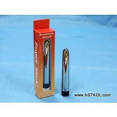 Блестящий гладкий серебряный вибромассажер  Абсолютно гладкий вибратор небольшого Размера, что позволяет использовать его и для анальной стимуляции. Способен работать с различными уровнями вибрации. Вес-110г.