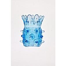 Голубая насадка на фаллос с шипами в виде ананаса  Голубая силиконовая насадка с шипами и шариками. Очень растяжимая насадка в длину и по диаметру.