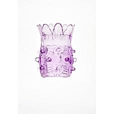 Фиолетовая насадка на фаллос с шипами в виде ананаса  Фиолетовая силиконовая насадка с шипами и шариками. Очень растяжимая насадка в длину и по диаметру.