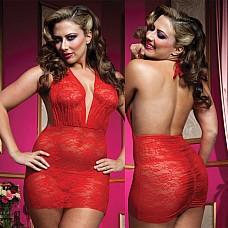 Красное роскошное мини-платье из кружева с трусиками STM-9533XPRED  Кружевное красное платьице с глубоким декольте и открытой спиной.