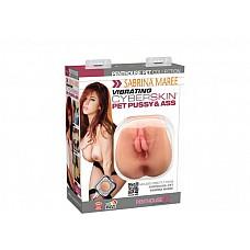 Вагина и анус с вибрацией Сабрина Мари  Реалистичная вагина и анус из материала CyberSkin точный слепок киски и попки порнозвезды Сабрины Мари. Мастурбатор имеет розовые пухлые губы, плотный ребристый тоннель удовольствия и тугую попку. <br><br>Вибропуля работает от 2-батарей AA (в комплект не входят).