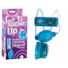 Голубая вибропомпа для вагины и клитора  Pucker Up  Pucker Up - это новая умная секс-игрушка от мирового лидера интим продукции Doc Johnson, отличающаяся специально созданной минипомпой, которую можно поместить на клитор или в вагину.<br><br> Используйте Pucker Up, чтобы создать вакуум, который обеспечит прилив крови к интимной зоне, что сразу же возбудит её, а также не забудьте включить вибрацию, которая поможет вам достичь невероятно сочного и продолжительного оргазма.