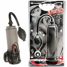 Вакуумный массажер с вибрацией для пениса X-RATED 0507-6 CD TS  Вакуумная помпа из пластика с резиновой грушей, в комплекте вибро-яичко с выносным пультом, работающим от 2 батареек типа АА и эрекционное кольцо.