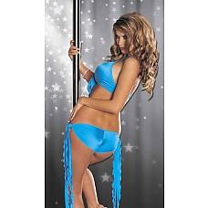 Комплект - Зажигательные танцы  Комплект из эластичного материала, низкие трусики на длинных волнистых завязочках по бокам, топ сзади на крючке, на шее завязка сзади, спереди у топа большой и длинный бант.