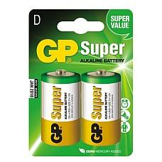 Батарейка Super LR20 (алкалин) в блистере по 2 шт.  Батарейки GP SUPER алкалиновые<br />Работают в 8-10 раз дольше, чем обычные солевые<br />Рекомендованы к работе в устройствах со средним и высоким потрeблением энергии<br />2 шт в блистере  Идеальное соотношение «цена/качество».