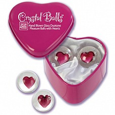 Шарики с сердечками CRYSTAL BALLS 1295-10 BX SE  Эксклюзивные вагинальные шарики из стекла в подарочной металлической коробочке в виде сердца.