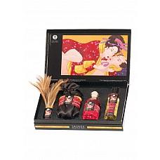 Подарочный набор Shunga Gift Set Tenderness/Passion, Ассорти  Отличный подарок как семейной паре так и двоим, которые только начинают узнавать друг друга! Откройте новые грани своей сексуальности! В подарочном набореShunga Gift Set Tenderness/Passion есть все необходимое, чтобы превратить Ваше свидание в незабываемый вихрь эмоций и удовольствия! Все составляющие набора подарят Вам возбуждающие ароматы земляники и шампанского! В набор входит: • массажное масло Erotic, 125 мл• масло-афродизиак с возбуждающим эффектом Intimate Kisses, 100 мл• сладкая пудра для тела Sweet Snow 120 г, кисточка ручной работы.