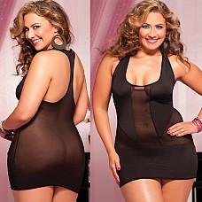 Черное короткое платье X  Однотонное эластичное платье с квадратным вырезом декольте.