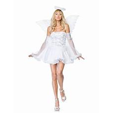 """Костюм """"Небесный ангел"""", XS, Белый  Костюм """"Небесный ангел"""": шелковое платьице с лентами и оборками и прозрачные нарукавники."""