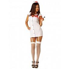 Костюм Доктор любовь  Костюм состоит из:  · халатика на пуговицах с подвязками для чулок · головного убора
