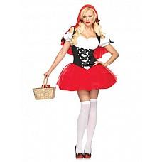 Костюм - наивная красная шапочка  Костюм состоит из:  · платья с подъюбником · накидки · ленты-завязки